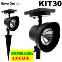 Refletor Led Solar Luminária Jardim Spot Verde-branca Kit 30