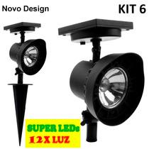 Refletor Led Solar Luminária Jardim Spot 12xluz Kit 6 Branca