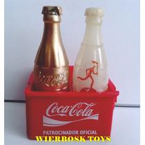 Coleção Coca Cola Engradado Com Duas Garrafas Atenas 2004