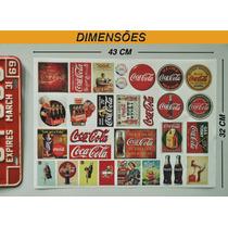 Coca Cola - Cartela Com 30 Adesivos Retrô - Tam 32x43 Cm