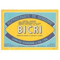 Rótulo Antigo Do Refrigerante De Gengibre Bicri (anos 70)