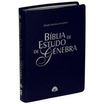 Bíblia De Estudo Genebra Luxo Azul Frete Grátis