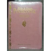 Bíblia De Estudo Pentecostal Pequena Luxo Rosa Harpa Cristã