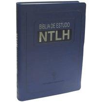 Bíblia De Estudo Ntlh Azul Grande - Frete Grátis