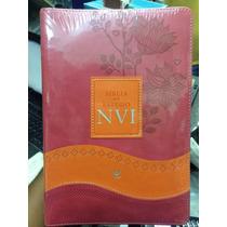 Bíblia De Estudo Nvi Rosa/laranja - Luxo 2015 Frete Gratis