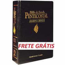 Bíblia De Estudo Pentecostal Com Harpa - Média -frete Grátis