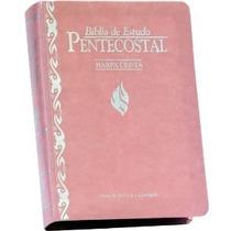 Bíblia De Estudo Pentecostal Pequena Com Harpa Luxo Rosa