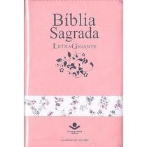 Bíblia Sagrada Letra Gigante Rosa Luxo Com Zíper Rc