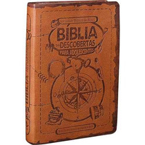 Bíblia Das Descobertas Rosa + Azul + Marrom Luxo