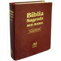 Bíblia Sagrada Católica Ave Maria Letra Grande Couro Marrom