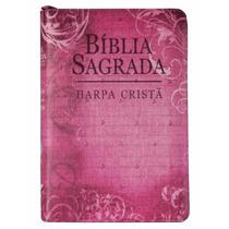 Bíblia Sagrada Média Rosa Com Harpa Cristã E Zíper 17 X 12cm