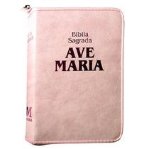 Bíblia Sagrada Católica Feminina Ave Maria Rosa Média