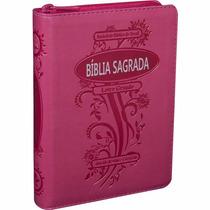 Biblia Feminina Com Índice E Zíper Letra Maior Rosa Pink