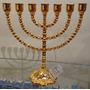 Menorah Judaica (candelabro) Metal C/ Banho De Ouro 33x33