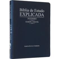 Bíblia De Estudo Explicada Com Harpa E Dicionário Azul
