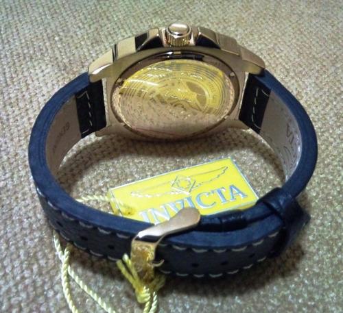 Relógio Invicta Corduba Collection Caixa Dourada Couro Preto