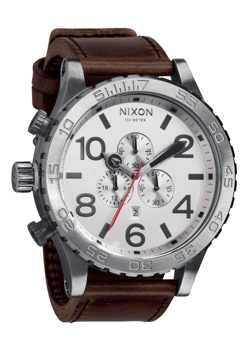 f7c0b653627 Relógio Nixon 51-30 Prata Fundo Preto Chrono Pulseira Couro - R  1.249
