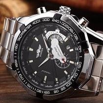 Relógio Automático Winner De Luxo Com Data Aço Inox