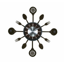 Relógio Parede Preto Cozinha Talheres 37cm Preto Herweg