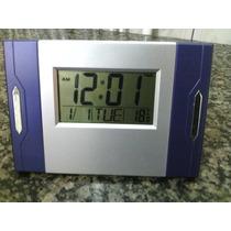 Relógio De Parede Digital Temperatura E Alarme Azul Mj2809