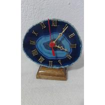 Relógio Mesa Mostrador Pedra Ágata Azul Algarismos Romano
