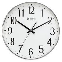 6387 - Relógio De Parede Sweep Cromado Contínuo 34 Cm Herweg