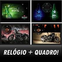 Quadro Relógio De Parede Heineken, Harley D, Coca Cola, Bud