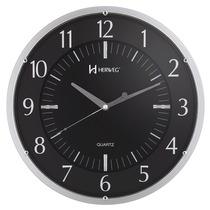 6211 - Relógio De Parede 35 Cm Grande Preto Cromados Herweg