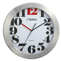 6368 - Relógio Parede 30 Cm Alumínio Escovado Numero Grande