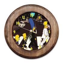 Relógio Família Simpsons Como The Beatles Com Moldura