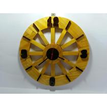 Relógio De Parede Grande 44cm Em Madeira Roda De Carroça