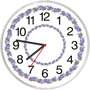 Relógio Modelo Papel De Parede Decorativo Flor Azul