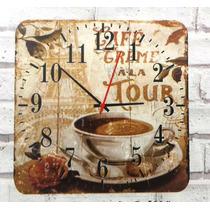 Relógio De Parede Em Madeira Mdf Café Paris Torre Eiffel