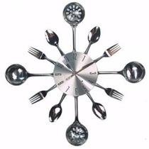 Relogio Talher Metal Inox Concha Colher Garfo Faca 43 Cm