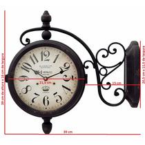 6425 - Relógio Parede Retrô 2 Duas Dupla Face Estação Herweg