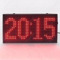 Relógio De Parede Led Digital Vermelho 34x18cm Suporta Texto