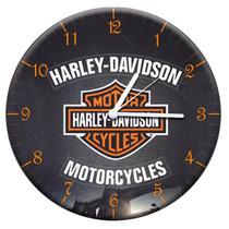 Relógio De Parede Harley Davidson Preto Em Mdf - 28 Cm