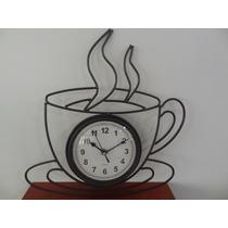 Relógio Parede Metal Envelhecido Formato Xícara De Café