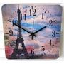 Relógio De Parede Em Madeira Mdf Paris Torre Eiffel Flores