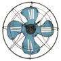 Relógio Ventilador De Parede Shabby Chic Azul Em Ferro