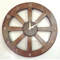 Relógio De Parede Roda De Carroça Rustica 35cm