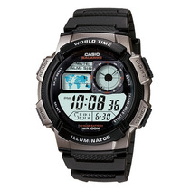 Relogio Casio Ae-1000w-1mapa Preto H.mundi-crono-timer-5alar