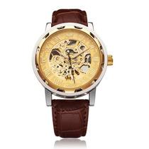 Relógio Pulso Sewor Esqueleto Mecânico Caixa Transparente