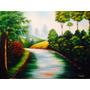 Pintura Em Tela Quadro Paisagem Rio Floresta - Frete Grátis