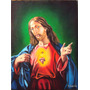 Pintura Sagrado Coração De Jesus- Arte Sacra Óleo Sobre Tela