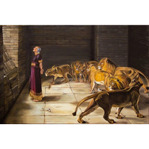 Óleo Sobre Tela Daniel Na Cova Dos Leões 120 X 80cm Sacra