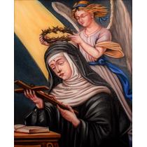 Santa Rita Tela Quadro Sacro Religioso Granito Artes Plástic