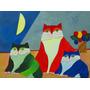 Quadro Pintura Em Tela - Três Gatos - Aldemir Martins
