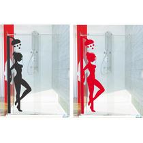 Adesivo Decorativo Parede Box Banheiro Mulher Chuveiro Água