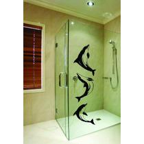 Adesivo Box Blindex Golfinho Espelho Vidro Natureza Mar
